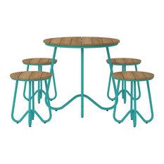 Novogratz Poolside Collection, 5-Piece Bobbi Outdoor Bistro Set, Turquoise
