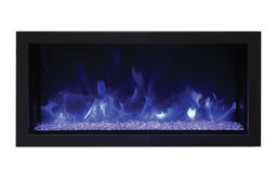 """Extra Slim Indoor Electric Fireplace with Black Steel Surround , Built-In, 35"""""""