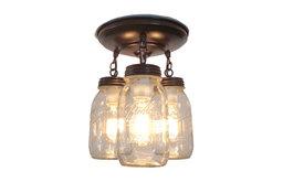 Mason Jar Light Fixture Trio of New Quarts, Oil Rubbed Bronze