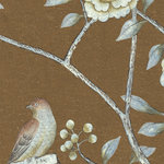 Chinoiserie Wall Mural Chai Wan, Rum, Sample - Sample of Chinoiserie mural depicts large flowers and birds in shades of white and beige on Rum Brown background. Printed on MuralPro wallpaper.