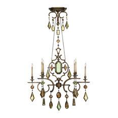 Fine Art Lamps 725940-1ST Encased Gems Silver Multi Color Crystal 6 Light Chande