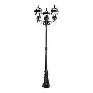 Capri Traditional Outdoor Lamp 3-Light Post, Rustic Brown