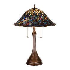 """22"""" Tiffany Peacock Feather Table Lamp"""