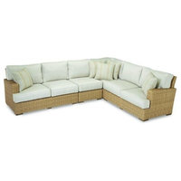 Sunset West Leucadia Outdoor Sectional Wtih Cushions, Canvas Flax