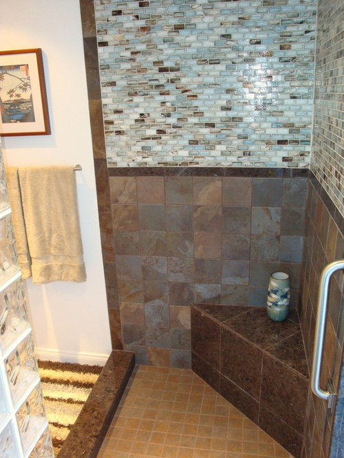 Small transitional master brown tile and glass tile light wood floor corner  shower photo in San. Blue And Brown Bathroom Ideas   Houzz