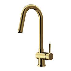 VIGO Gramercy Pull Down Kitchen Faucet, Matte Brushed Gold