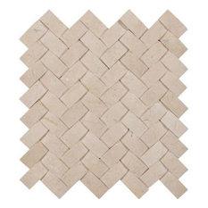 "12""x12"" Crema Nova Arched Herringbone Polished Marble Mosaic, Set of 10"