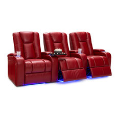 Seatcraft Serenity Leather Home Theater Seating Power Recline, Red, Row of 3