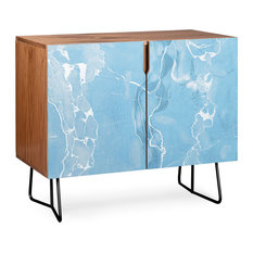 Deny Designs Blue Sky Marble Credenza Walnut Black Steel Legs