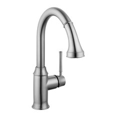 hansgrohe usa deck mount kitchen sink faucet pull down spout steel