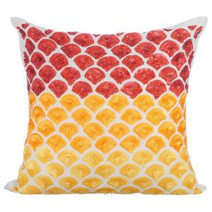 Art Deco 45x45 Silk Ivory Throw Cushion Covers, Rising Sun