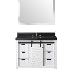 "Eviva Dallas 42"" White Bathroom Vanity with Absolute Black Granite Countertop"