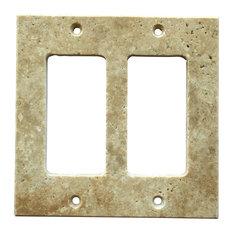 "Light Walnut Travertine Switch Plate Cover Double Rocker, 4.5""x5.5"""