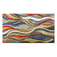 "Mozaico - Colorful Wavy Shades Marble Mosaic Wallpaper Or Floor Art, 47""x79"" - Tile Murals"