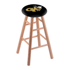 Oak Bar Stool Natural Finish With Georgia Tech Seat 30-inch