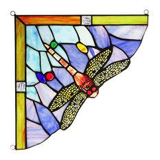 "CHLOE Lighting HARMONIA Dragonfly Tiffany-glass Window Panel 10"""