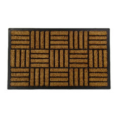 "Crisscross Rectangle Inlaid Coco Rubber 1"" Thick Doormat, 24""x39"""