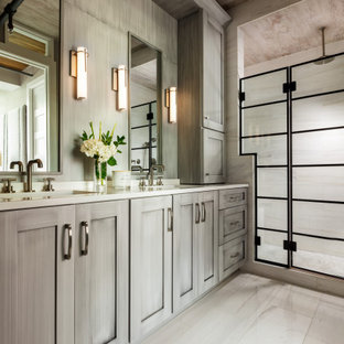 Photo of a small contemporary master bathroom in Philadelphia with shaker cabinets, distressed cabinets, a double shower, a bidet, white tile, porcelain tile, white walls, porcelain floors, an undermount sink, quartzite benchtops, white floor, a hinged shower door, white benchtops, a shower seat, a double vanity, a built-in vanity and wood.