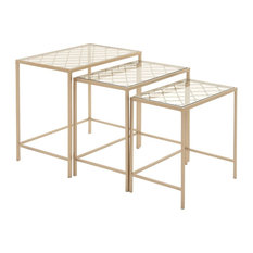 Metal Glass Nest Tables 3-Piece Set