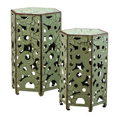 GDFStudio   Utica Antique Style Yellow Accent Side Table, Green, Set Of 2