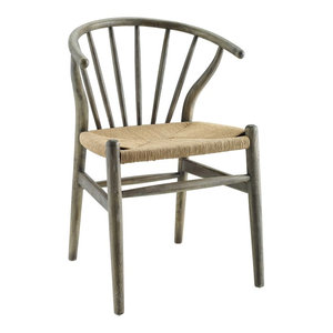 Flourish Spindle Wood Dining Side Chair, Gray