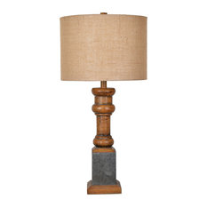 Heirloom Table Lamp, Antique Pine and Galvanized