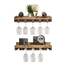 "Rustic Luxe Wine Glass Shelves, Set of 2, Walnut, 24""x10""x6"""
