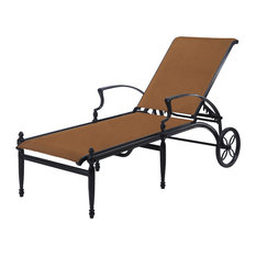 Bel Air Padded Sling Chaise Lounge, Midnight Gold/Canvas Flax