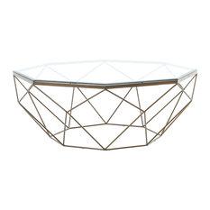 Geometric Coffee Table, Antique Brass