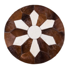AYDIN Hides   High End Handmade Cowhide Patchwork Area Rug Round Short  Hair, 5u0027