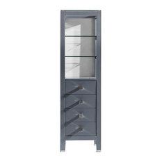 """Virtu USA Cailey 16"""" Linen Cabinet, Gray"""