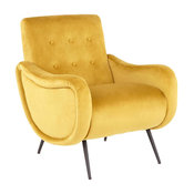Rafael Contemporary Lounge Chair in Black Metal & Yellow Velvet