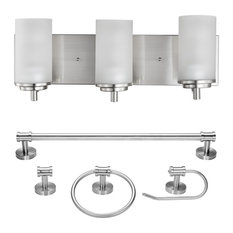 Carla 5-Piece Brushed Nickel All-In-One Bathroom Hardware 3-Light Vanity Light