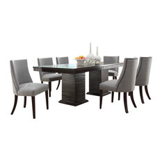 HomeleganceLA  Inc Homelegance Chicago 7 Piece Pedestal Dining Room Set in Deep Espresso Sets Houzz