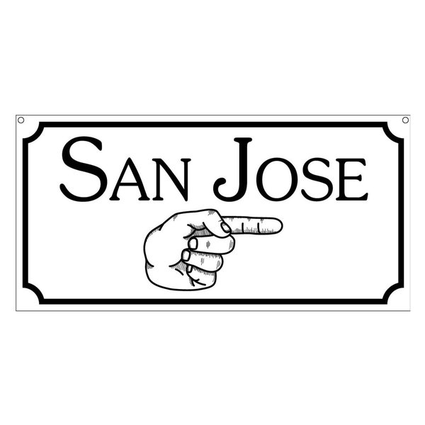 San Jose Aluminum Sign With Finger Pointing Man Cave Game Room Novelty, 6