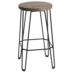 Move Bar Stool, Black and Dark Brown, Medium