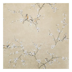 York - Birds and Blossoms on Shimmering Metallic Gold Wallpaper, Single Roll - Wallpaper