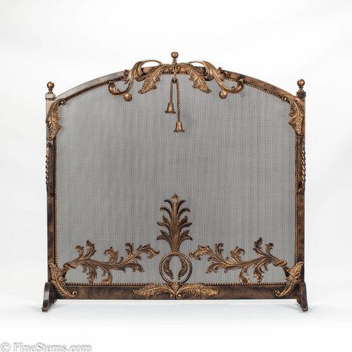 Dark bronze and gold iron fireplace screen - Fireplace Screens - Custom Iron Fireplace Screens & Decor