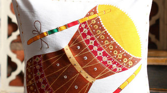 Traditional Indian Classical Music Instrument Collection Hand Painted Cushions