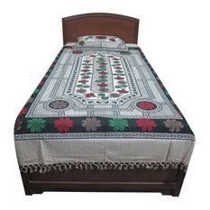 Mogul Interior - Indian Bed Cover Floral Printed Cotton Bedding Bedspread Twin Sz - Quilts And Quilt Sets