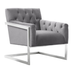 Emily Contemporary Accent Chair, Brushed Stainless Steel With Gray Velvet by Armen Living