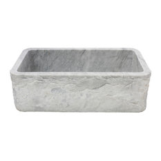 Single Bowl Kitchen Sink, Carrara White Marble With Natural Chiseled Apron