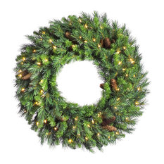 "Vickerman Cheyenne Pine Wreath With Pine Cones, 30"", Clear Lights"