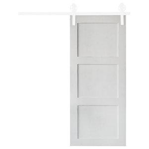 "3 Panel Sliding Barn Door, Painted White, 84""x36"""