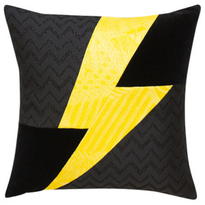 Marius Lighting Bolt Scatter Cushion, Yellow and Black