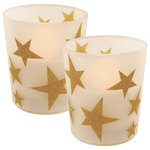 LumaBase - Battery Operated LED Wax Candles in Glass Holders, Gold Stars, Set of 2 - These lovely gold stars on frosted glass battery operated candles are the perfect touch for your holiday decor. This set of 2 glass holders with genuine wax cast an amber glow that adds ambient lighting to your decor. Get the classic soft  glow of a candle without any drips, smoke or flames. The LED candles have a convenient  timer  incorporated, 6 hours on and 8 hours off. Each candle uses 2 AA batteries (not included).