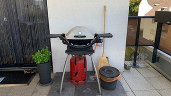 Outdoor Küche mit Arbeitsfläche und Stauraum