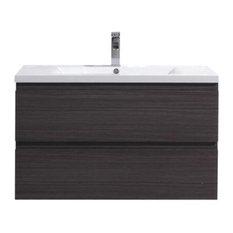 "Bathroom Vanity Wholesale INC. - MOB 36"" Wall Mounted Vanity With Reinforced Acrylic Sink, Gray Oak - Bathroom Vanities and Sink Consoles"