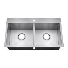 """Golden Vantage 33""""x22""""x9"""" Top Mount Handmade Double Basin 50/50 Kitchen Sink"""