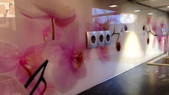 Küchenrückwand mit Orchideenmotiv